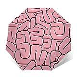Sombrilla para el intestino grande, automático, triple pliegue, con diseño de cerebro, parasol (interior de vinilo)