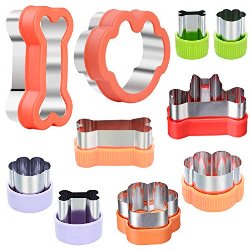 Magigift Dog Cookie Cutter Set, 10pcs, Dog Bone and Dog Paw Print Cookie Mold for Homemade Treats - Stainless Steel Cookie Cutter molds for Kids Suitable for Cakes and Cookies (Assorted Sizes)