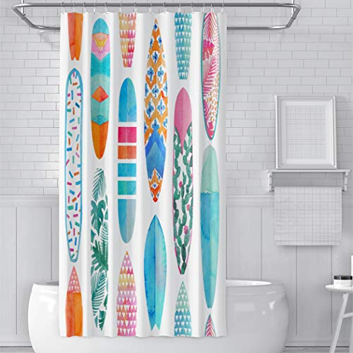 YUEMT Shower Curtain Watercolor Surfboard Colorful Summer Time 54x72 Inch 12 Hooks Stall Home Bathroom Decoration