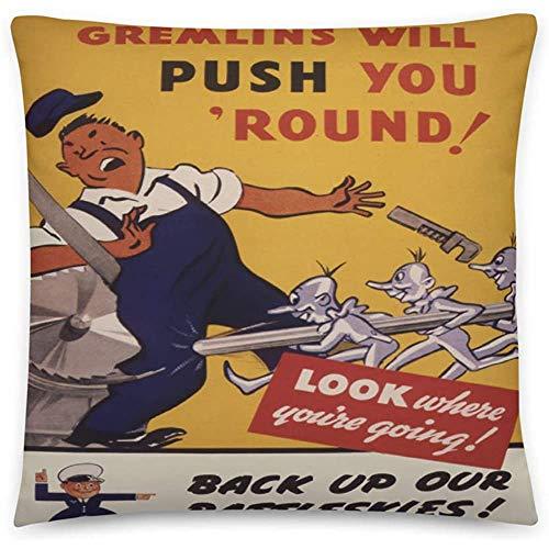 GodYo Vintage Poster - Arbeitssicherheit 0545 - Quadratische Kissenbezugfüllung - 18 x 18