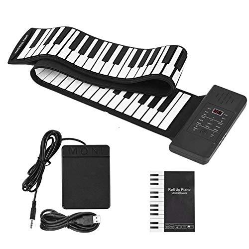 4YANG Roll up Piano, Faltbare Klaviertastatur mit 88 Tasten Eingebauter 1200mA Akku,Tasten-E-Piano-Tastatur mit 128 Rhythmen und 128 Tönen für Anfänger un Kinder