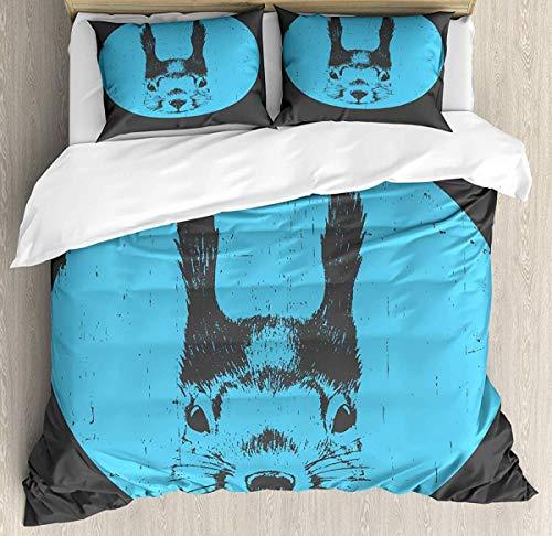 7788 Hipster - Juego de funda de edredón para cama individual, diseño de ardilla divertida con gafas, color gris oscuro y verde oscuro