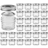 Glass Jars With Lids, VERONES Quilted Wide Mouth Crystal Jelly Glasses Set of 25 Silver(4oz), Each...