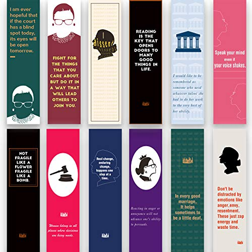 45 Pieces Ruth Bader Ginsburg Bookmarks Encouraging Quotes Motivational Bookmarks for Women Positive Page Clips Perfect for Book Lover Lawyer Judge Feminist Gifts (Paper)