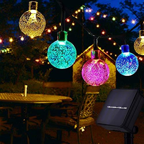 Usboo® Solar Lichterkette, 10 Meter 60 bunte LED für Innen & Außen mit Kristallkugeln, wasserdichten Kupferdrähten für Weihnachten, Raumsdekorationen, Partys, Hochzeiten, Garten, Balkons, Kinder usw.