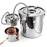 5 Gallon Moonshine Still Water Alcohol Distiller, 20 Liters DIY Whiskey Still Stainless St...