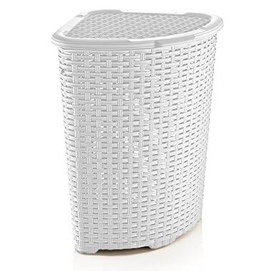Rattan (Wicker Style) Corner Laundry Hamper 1.47 Bushel / 52 Liter