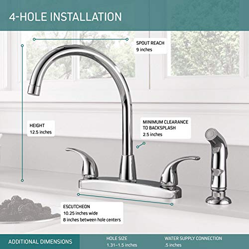 Peerless Tunbridge 2-Handle Kitchen Sink Faucet with Side Sprayer, Chrome P299578LF