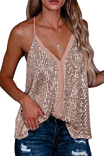 Shawhuwa Women's Sexy V Neck Night Club Sequin Tank Tops Casual Loose Strappy Racerback Camisoles Sleeveless Cami Shirt Blouses Small Pink