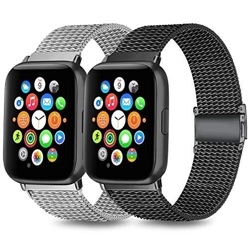 Mugust Pack 2 Compatible avec Apple Watch Bracelet 38mm 40mm 42mm 44mm Sport Bracelet en Acier Inoxydable de Remplacement Compatible avec iWatch Series 6 5 4 3 2 1 Se (01 Noir+Argent, 42mm/44mm)