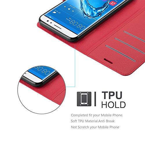 Cadorabo Hülle für Huawei NOVA Plus - Hülle in Karmin ROT – Handyhülle mit Kartenfach und Standfunktion - Case Cover Schutzhülle Etui Tasche Book Klapp Style - 5