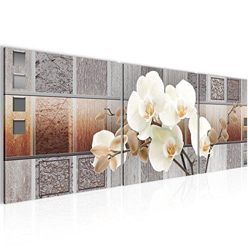 Bild 120 x 40 cm - blumen Bilder- Vlies Leinwand - Deko für Wohnzimmer -Wandbild - XXL 3 Teile Teile - leichtes Aufhängen- 800733a