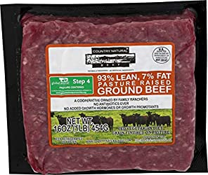 Country Naturals, Pasture-Raised 93% Lean Ground Beef, 16 oz