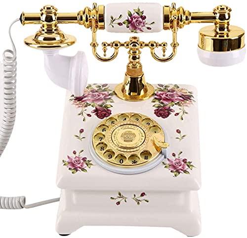 MUZIDP Teléfono Decorativo Teléfono Inicio Oficina Teléfono con Cable, Teléfono Retro de Cerámica Europea/Antigua Dial Rotaria Fija/Clásico Teléfono Antiguo Moda, Blanco