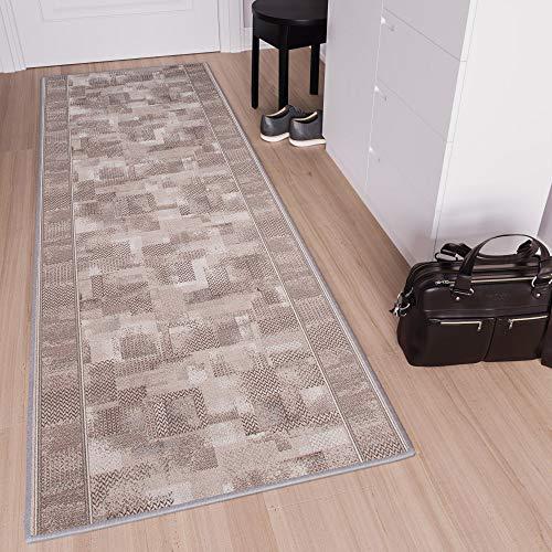 TAPISO Anti Rutsch Teppich Läufer rutschfest Brücke Meterware Modern Grau Beige Verwischt Figuren Design Flur Küche Wohnzimmer 80 x 350 cm