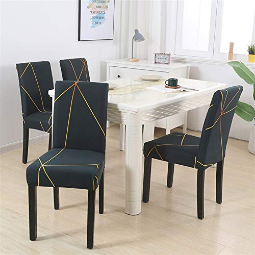 Dining Chair Pad 1/2/4/6pcs Geometric Chair Covers Spandex Elastic Stretch Decoration Chair Dining Seat Cushion Anti-dirty Washable Seat Pad (Color : Pattern 21, Specification : 6pieces)