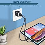 USB Wall Charger, Charger Adapter, Ailkin 2.4Amp Dual Port Foldable Quick Charger Plug Cube Replacement for iPhone 11/X/XR/XS MAS/8, Samsung Galaxy, LG, HTC, Huawei, Moto, Kindle 13 Premium Performance: Dual-USB output with total current 5V/2.1A and input with 100-240V enables you to charge two mobile devices simultaneously at high speed.It can really save your time. Safety assurance: AILKIN'S charger has protection system against over charging, over currents, and over heating. The charger will automatically stop charging when power is full, which can maximumly protect your device. Lightweight:Home charger adapter allows charging at home or in the office via USB cable connection. Simply plug in the USB cable, and plug the adapter into the wall. Compact, lightweight, portable, stylish, easy to store.