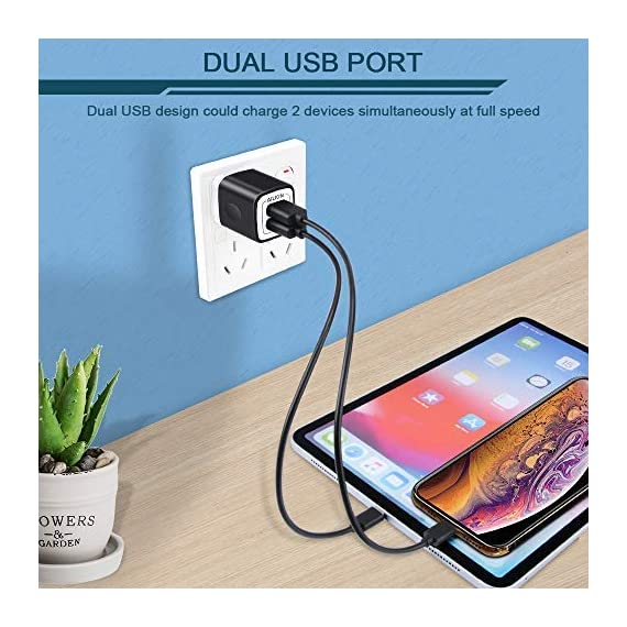 USB Wall Charger, Charger Adapter, Ailkin 2.4Amp Dual Port Foldable Quick Charger Plug Cube Replacement for iPhone 11/X/XR/XS MAS/8, Samsung Galaxy, LG, HTC, Huawei, Moto, Kindle 6 Premium Performance: Dual-USB output with total current 5V/2.1A and input with 100-240V enables you to charge two mobile devices simultaneously at high speed.It can really save your time. Safety assurance: AILKIN'S charger has protection system against over charging, over currents, and over heating. The charger will automatically stop charging when power is full, which can maximumly protect your device. Lightweight:Home charger adapter allows charging at home or in the office via USB cable connection. Simply plug in the USB cable, and plug the adapter into the wall. Compact, lightweight, portable, stylish, easy to store.