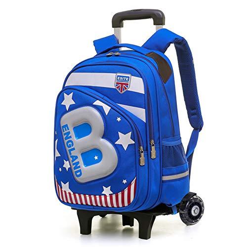 XWWS Wheeled Backpack - Waterproof Children's Trolley Bag, Cute Cartoon Rolling Backpack Star Printed, Best Gift for Kids,Blue,A