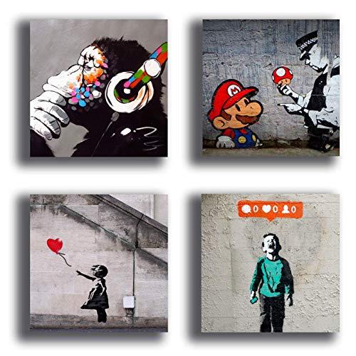 Printerland Cuadros Modernos Estilo Banksy murales 4 Unidades 30 x 30 cm Impresión sobre Lienzo Canvas Decoración Arte Abstracto XXL Decoración salón Dormitorio Cocina Oficina Bar Restaurante