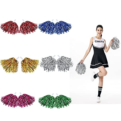 FIGFYOU 12 Stücke Cheerleading Pompons Cheerleading Pom Poms aus Prämie PET Tanzpuschel Bunt Cheerleader Puschel Hell Glitzer Tanzwedel Cheers Ball Pompoms für Aerobic Sport Party (6 Farben)