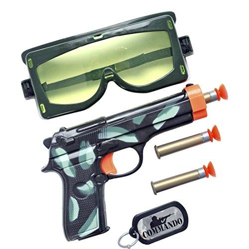 NET TOYS Spielzeug Pistolen Set Soldat Soldaten Set Militär Ausrüstung Saugnapf Pistole Army Kostüm Zubehör