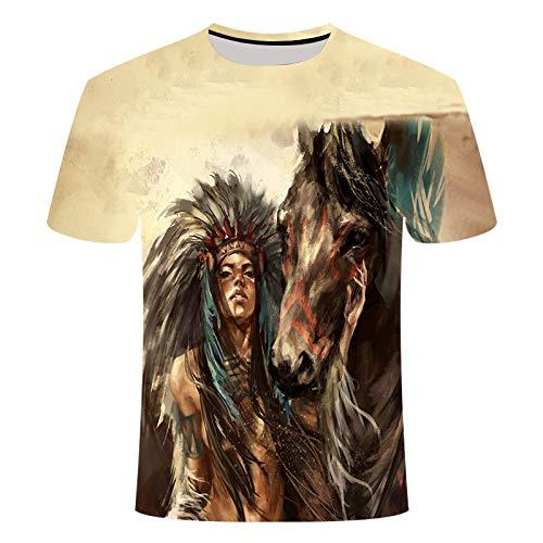 Sunofbeach Unisex 3D T-Shirt Lustige Druck Beiläufige Kurzarm T-Shirts Tee Tops, Indisches Mädchen und Pferd, XXXXL