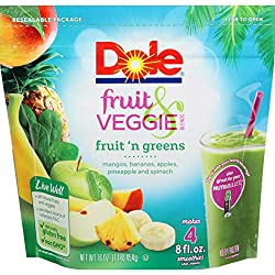 DOLE Frozen Fruit and Veggie Blends Smoothie Mix, Fruit N' Greens, 16 Ounce Bag