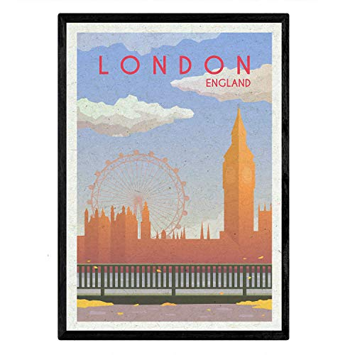 London sheet. Vintage style. Poster Big Ben and London Eye in colors. London Ad Size 11'x17'