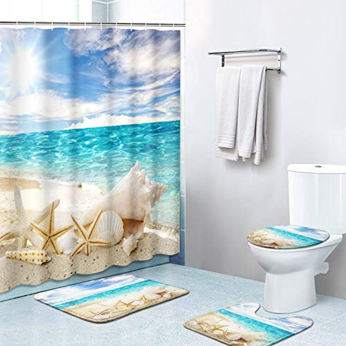 Britimes 4 Piece Shower Curtain Sets, with 12 Hooks, Ocean Starfish Seashells with Non-Slip Rugs, Toilet Lid Cover and Bath Mat, Durable and Waterproof, for Bathroom Decor Set, 72' x 72'