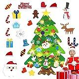 ASANMU Árbol de Navidad de Fieltro, Árbol de Navidad Artificial de Fieltro Adornos Desmontables DIY Adornos Navideñas Decoración Regalo para...