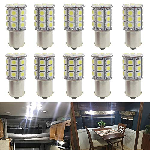 JAVR-10 Paquete -6500 K Blanco 1156 BA15S 1141 1003 1073 7506 Bombillas LED 5050 27-SMD para iluminación interior de 12 V RV Camper Boat Patio trailer Patio trasero Frenos Bombillas