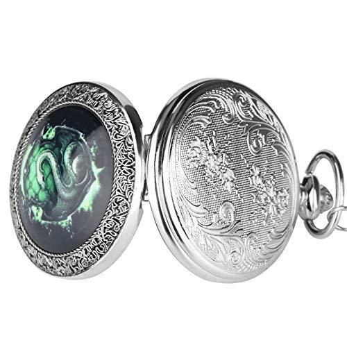 SSJIA Collar con Colgante de Reloj de Bolsillo de Cuarzo con Serpiente Fluorescente, Cadena relogio de Bolso-Default