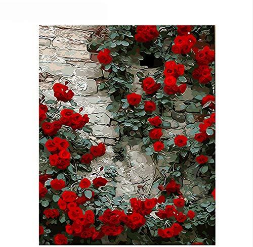Vanzelu wandafbeeldingen voor de woonkamer, rode bloemen, romantisch, roze, DIY, schilderen op muur, canvas, 40 x 50 cm, geen lijst