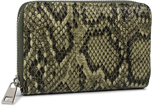 styleBREAKER Damen Mini Geldbörse mit Schlangen Muster, Reißverschluss, Portemonnaie 02040127, Farbe:Oliv