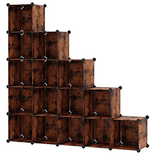 SONGMICS Scaffale a 16 Cubi, con Sistema Fai-da-Te, Organizzatore Stabile in Plastica PP, Guardaroba, Divisori per Armadio, Scarpiera, per Camera da Letto, Ufficio, Marrone Vintage LPC442A01