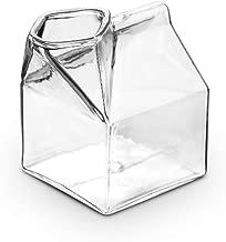 LOHOME Milk Creamer Glass Mini Milk Carton Container Water Glass Cup