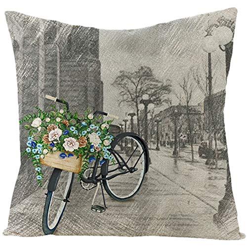 Adokiss Fundas de cojín de lino con bicicleta y flores en la calle, diseño suave, cuadradas, funda para sofá o dormitorio, decoración verde y gris, 40 x 40 cm, estilo 2