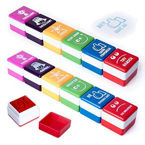 PracticOffice - Pack 6+6 Sellos Motivación para Niños y Jovenes, Ideal Padres y Profesores. Catalán e Inglés