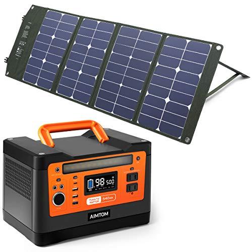 AIMTOM PowerPal Raptor 540Wh Portable Solar Generator + SolarPal 80W Foldable Solar Panel