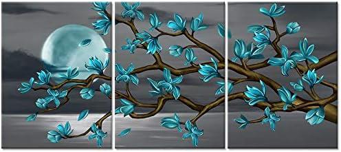 Visual Art Decor Flowers Wall Art Teal Magnolia Moon Black and White Sea Seascape Canvas Prints product image