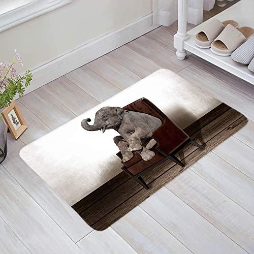 Teppich Teppiche Carpet Taracarpet Fußmatte Farm Elefant, der auf Retro Stuhl Notholz Vintage Wand sitzt Vorleger 40X60CM