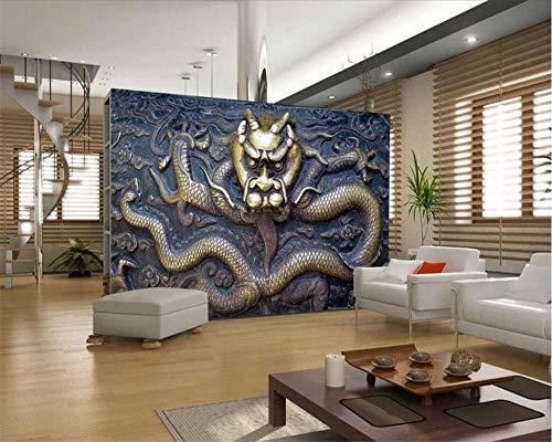 Benutzerdefinierte Tapete 3D Große Drachen Reliefbild TV Hintergrund Wand Wohnzimmer Schlafzimmer Hintergrundbild 3D Tapete -150 * 105 cm