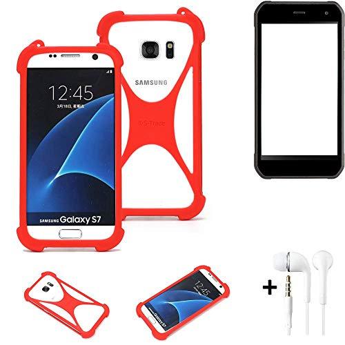 K-S-Trade® Handyhülle + Kopfhörer Für Cyrus CS 40 Schutzhülle Bumper Silikon Schutz Hülle Cover Case Silikoncase Silikonbumper TPU Softcase Smartphone, Rot (1x),