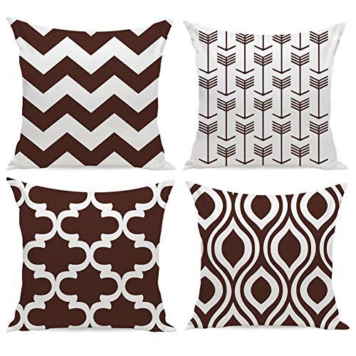 Funda de cojín para sofá y cama, de HuifengS New Living Series, diseño geométrico, 45 x 45 cm, 4 unidades