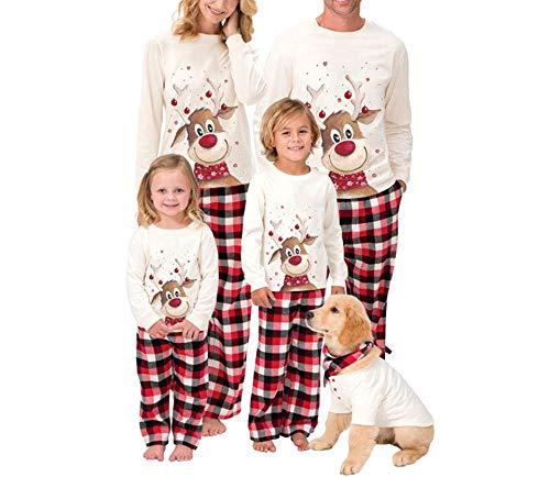 Weihnachten Familien Schlafanzug Damen Herren Kinder Weihnachtspyjamas Set Lange Schlafanzüge Lustig Nachthemd Top Plaid Hosen Familys Sleepwear Homewear Pyjamas Outfits (Weiß Herren, L)