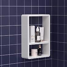 KUNGYO Étagère Murale Cube en Plastique de Salle de Bains - Tablette Flottante Murale d'Aspiration Blanche Organisateur de...