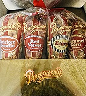 Popcornopolis 7 Large Cones Variety Popcorn Gift Basket Gluten Free (Includes one large cone each of Caramel, Kettle, Zebra, Snickerdoodle, Cinnamon Toast, Cheddar Cheese, and Red Velvet)