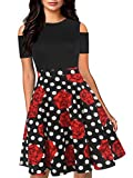 oxiuly Women's Chic Off Shoulder Floral Flare Patchwork Party Cocktail Casual Pockets Swing Dress OX266 (M, BK-RedF Dot)