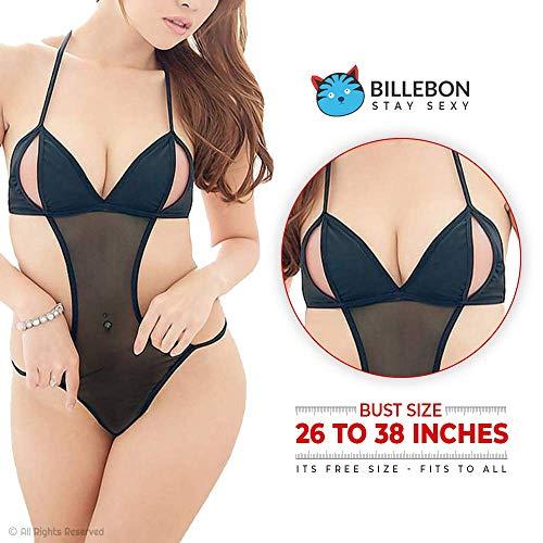 Billebon Women Babydoll Nightwear Lingerie with Panty Free Size Black